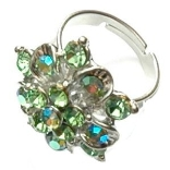 Crystal Ring 007 -- Swarovski Crystals in Aqua with Polished Silver Finish