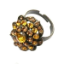Crystal Ring 001 -- Amber Swarovski Crystals with Oxidized Finish (SKU: CrystalRing001)