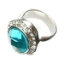 Crystal Ring 005 -- Clear and Aqua Swarovski Crystals with Polished Silver Finish (SKU: CrystalRing005)