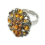 Crystal Ring 008 -- Amber Swarovski Crystals with Oxidized Silver Finish (SKU: CrystalRing008)