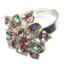 Crystal Ring 010 -- Swarovski Crystals in Purple with Polished Silver Finish (SKU: CrystalRing010)