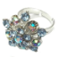 Crystal Ring 012 -- Swarovski Crystals in Light Aqua with Polished Silver Finish (SKU: CrystalRing012)